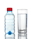 One plastic bottle and glass of water Royalty Free Stock Image