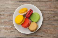 One plate of assorted  macarons Stock Photos
