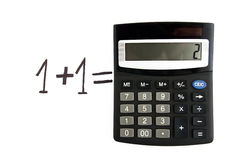 One plus one. Mathematical calculus, one plus one is two Royalty Free Stock Photos