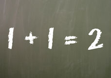 One plus one. Chalk board with a math problem Stock Images