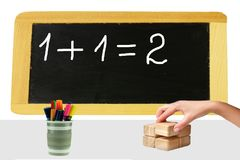 One plus one equal two are written on a blackboard and a womans stock images
