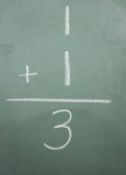 One plus one equals three. Written on a blackboard Stock Images