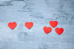 One plus one equals three hearts Stock Photos