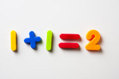 One plus one equals two. Childs magnetic letters arranged in an simple mathmatic sum Royalty Free Stock Photography