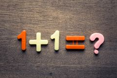 One Plus One Question. One plus one mathematics question by plastic fiqures on wood background royalty free stock image