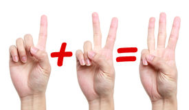 One plus two equal three. Fingers showing one plus two equal three stock photography