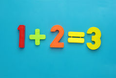 One plus two equals three. Simple math - one plus two equals three with child's toy number set royalty free stock photos
