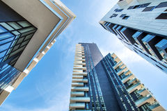 One point perspective of buildings in Milan stock photos