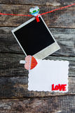 One polaroid photo frames and heart for valentine's day Stock Photography