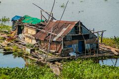 One of poor houses of a shantytown in Iquitos. Peru royalty free stock photos