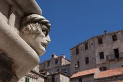 Sculptural portrait on St James cathedral in Åibenik. One of 50 portraits of St James Cathedral in Åibenik, Croatia royalty free stock photo