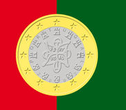 One Portuguese Euro Coin. In  shapes with Portuguese flag as background Stock Image