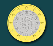 One Portuguese Euro Coin. In  shapes with dark background Stock Image