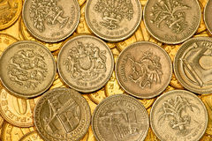 One pound. Only one pound coins with different motives Stock Image