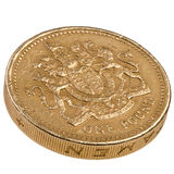 One pound British coin. Edge view of one pound British decimal coin Stock Image