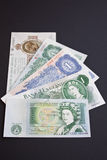 One Pound British History. The five last versions of the British one pound note Royalty Free Stock Photos