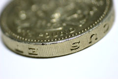 One Pound Coin. Close up of british one pound £ coin. Tail side up Royalty Free Stock Photo