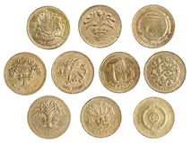 One pound coin collection Royalty Free Stock Photo
