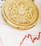One pound coin on fluctuating graph Stock Images