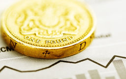 One pound coin on fluctuating graph Stock Photos