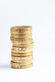 One pound coin stack Royalty Free Stock Image