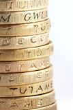 One pound coin stack Royalty Free Stock Photos