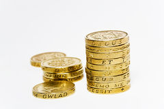 One Pound Coins Royalty Free Stock Photos