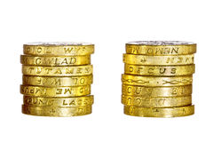 One pound coins Stock Photography