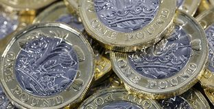 One Pound Coins - British Currency royalty free stock image