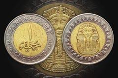 One Pound Egypt bi-metal coin. Year 2008 One Pound Egypt bi-metal coin. Junaih Wahid. King Tutankhamun Royalty Free Stock Photos