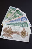 One Pound History. The five last versions of the British one pound note Royalty Free Stock Photo