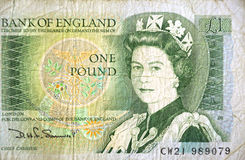 One pound note. The english one pound note as used in 1970/80s, showing a young Queen Elizabeth II Royalty Free Stock Images