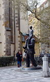 One of Prague`s monuments to the great writer of the XX century, Franz Kafka. Stock Photos