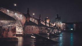 Dramatic View of Charles Bridge Royalty Free Stock Photography