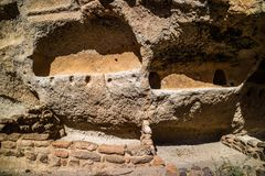 Cliff Dwelling Ruins in Bandelier National Monument, New Mexico stock photography