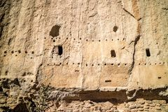 Cliff Dwelling Ruins in Bandelier National Monument, New Mexico royalty free stock photo