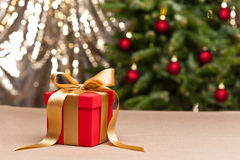 One present with gold ribbon Stock Images
