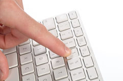 One press of a finger. Of the computer stock photos