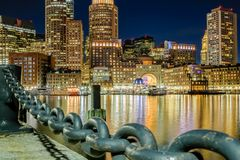 An evening in Boston Harbor stock images