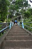 Going uphill at Tiger Cave Temple in Krabi, Thailand stock photo
