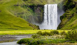 Skogafoss - stunning waterfall on Iceland. royalty free stock photography