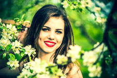 One pretty girl in the garden under the blossom tree Royalty Free Stock Images