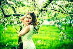 One pretty girl in the garden under the blossom tree Stock Photography