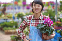 One Pretty Young Asian Florist Working in the Garden. One Beautiful Chinese Woman Working in the Florist`s Smile at Camera Royalty Free Stock Photos