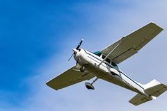 One private plane flying over Ireland stock photos