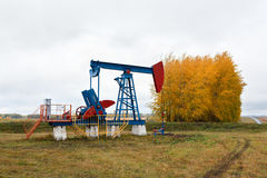 One pump jacks on a oil field. royalty free stock photography