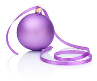 One purple Christmas Bauble and ribbon Isolated on white. Background Royalty Free Stock Image