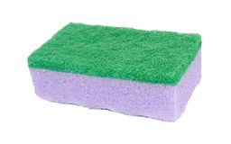 Sponge isolated on white background. One purple with green kitchen sponge for washing dishes isolated on white background royalty free stock image