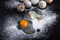 One quail egg broken into flour Royalty Free Stock Photos