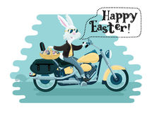 One rabbit mounted on a motorcycle background in cartoon style illustration. Royalty Free Stock Photo